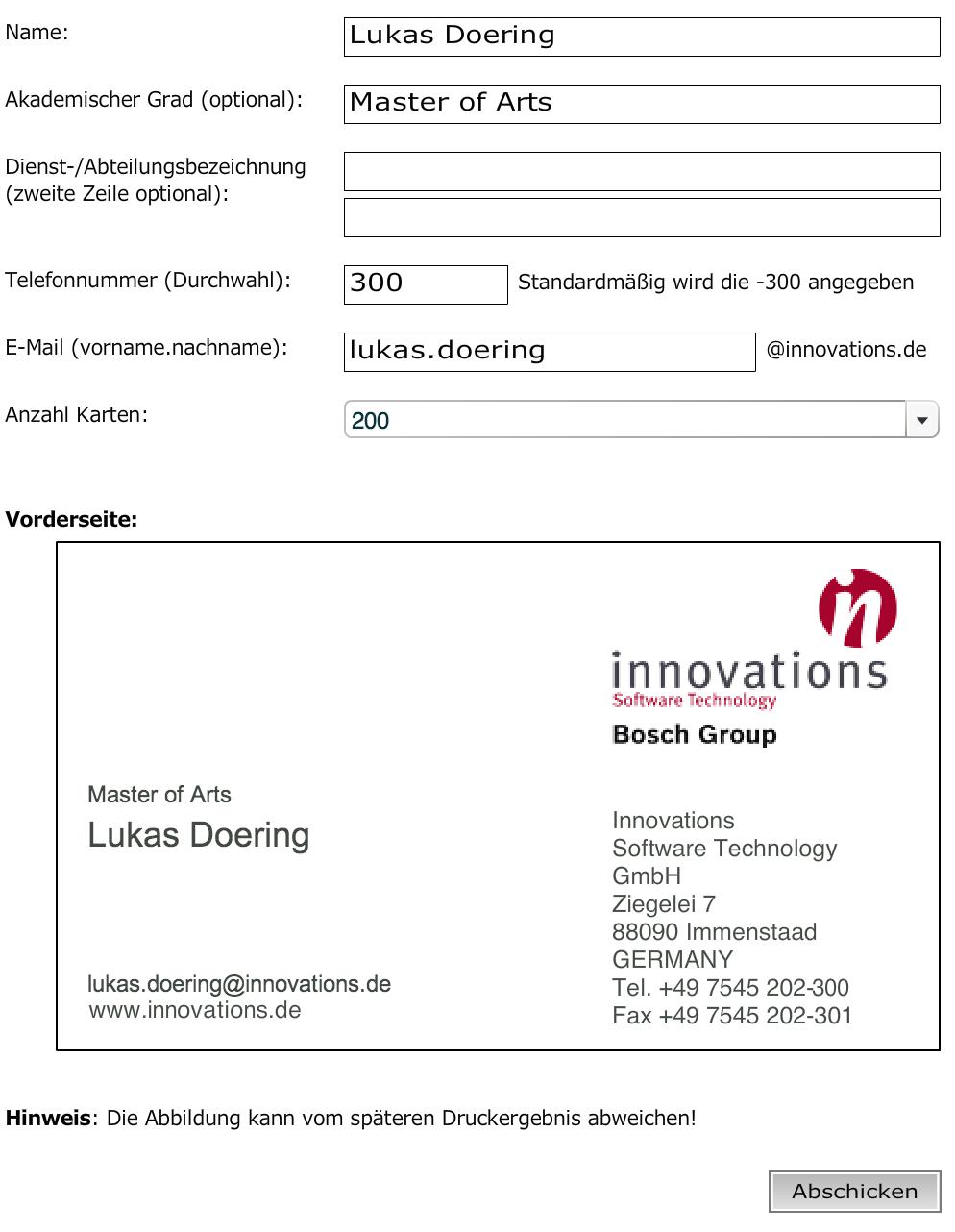 Visitenkarten Bestelltool Png Lukas Doering Interactive